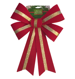 Darice Christmas Red Velvet Bow w Gold Stripe PVC 12x17 Holiday Expressions