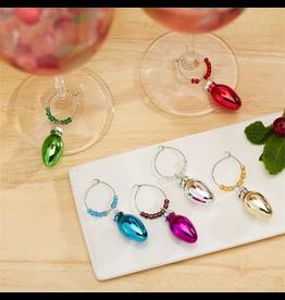 Twos Company Christmas Wine Glass Identifiers 6pk Drink Be Merry Bulbs
