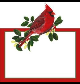 Caspari Christmas Table Place Cards 8pk Cardinals Winter Songbirds
