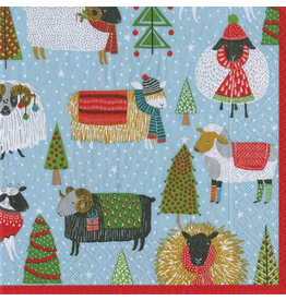 Caspari Christmas Paper Cocktail Napkins 20pk Warm And Wooly