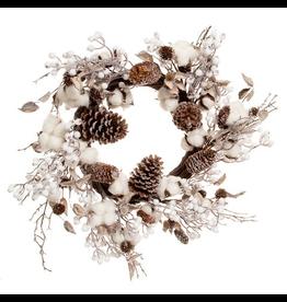 Darice Christmas Wreath Cotton Stems w Pine Cones 24 inch
