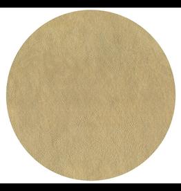 Caspari Placemats Round Felt Backed Metallic Gold Faux Leather Texture