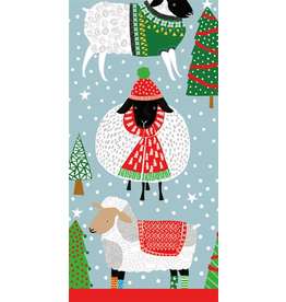 Caspari Paper Facial Tissues Package of 10 Hankies Christmas Warm Wooly Sheep