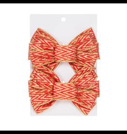 Darice Christmas Gold Red Chevron Glitter Bows 6.25x5 inch Set of 2