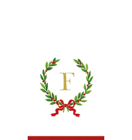Caspari Christmas Monogram Initial F Paper Guest Napkins 20pk