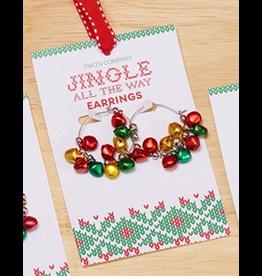 Twos Company Mini Jingle Bells Christmas Earrings Hoops Style -B