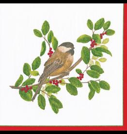 Caspari Christmas Paper Luncheon Napkins 20pk Winter Songbirds