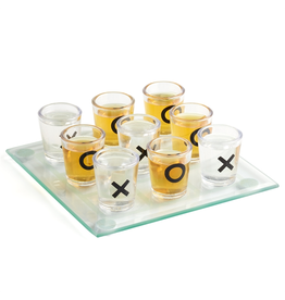 Twos Company Mini Shot Glass Tic Tac Toe w Game Board Gift Set
