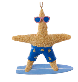 Kurt Adler Starfish Ornament on Surf Board BOY Coastal Beach Christmas