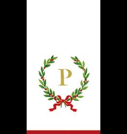 Caspari Christmas Monogram Initial P Paper Guest Napkins 20pk