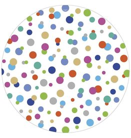 Caspari Round Paper Salad Dessert Plates 8pk Confetti Brights