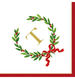 Caspari Christmas Monogram Initial T Paper Cocktail Napkins 20pk