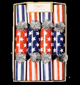 Caspari Celebration Crackers 8pk July 4th Patriotic Red White Blue