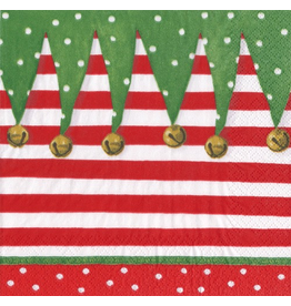 Caspari Christmas Paper Cocktail Napkins 20pk Stocking Stripe