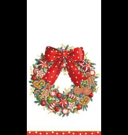 Caspari Christmas Paper Guest Towel Napkins 15pk Candy Wreath