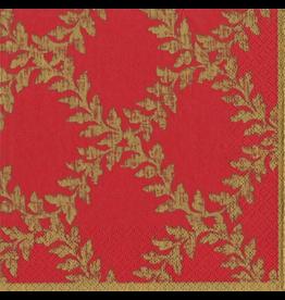 Caspari Christmas Paper Dinner Napkins 20pk Acanthus Red Gold