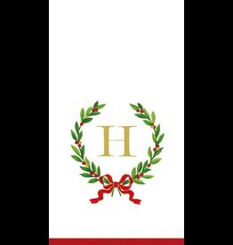 Caspari Christmas Monogram Initial H Paper Guest Napkins 20pk