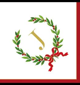 Caspari Christmas Monogram Initial J Paper Cocktail Napkins 20pk