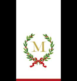 Caspari Christmas Monogram Initial M Paper Guest Napkins 20pk