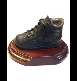 Genesis Fine Arts Bronze Baby Shoe Boot On Wood Base