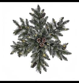 Kurt Adler Snowflake Wreath 32inch Pre-Lit LED Lights Battery Operated