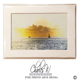 Charles W Frameable Art Cards Sunset Sail Boats Key West