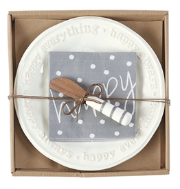 Mud Pie Happy Cheese Set With Napkins And Spreader