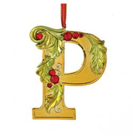 Kurt Adler Gold Initial Ornament With Holly Accents 3.5 Inch Letter P