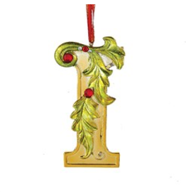 Kurt Adler Gold Initial Ornament With Holly Accents 3.5 Inch Letter I