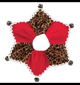 Mud Pie Jester Jingle Dog Collars-Leopard-Elastic Over Head Md-Lg 16 Inch Neck