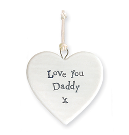 East of India Porcelain Heart Ornament 4173 Love You Daddy X