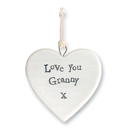 East of India Porcelain Heart Ornament 4175 Love You Granny X