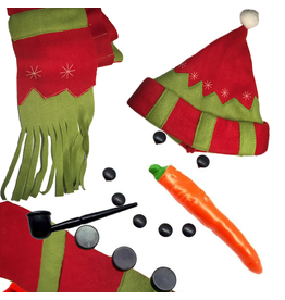 Darice Make a Snowman Building Clothing Kit w Hat Scarf Carrot Pipe Buttons