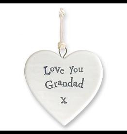 East of India Porcelain Heart Ornament 4176 Love You Grandad X
