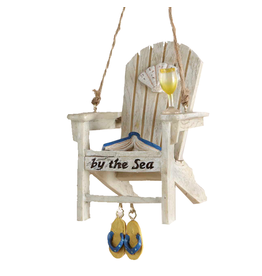Kurt Adler Beach Chair Christmas Ornament By the Sea White