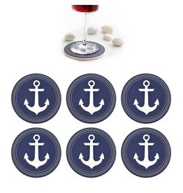 Harman Ceramic Coasters Set of 6 Anchors Blue and White
