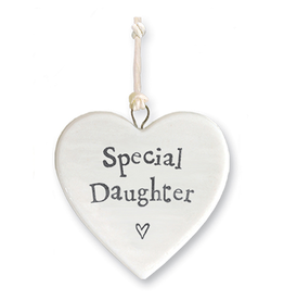 East of India Porcelain Heart Ornament Special Daughter