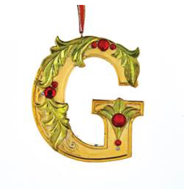 Kurt Adler Gold Initial Ornament With Holly Accents 3.5 Inch Letter G