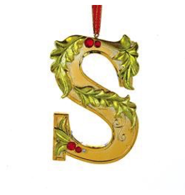 Kurt Adler Gold Initial Ornament With Holly Accents 3.5 Inch Letter S