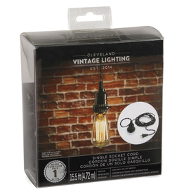 Cleveland Vintage Lighting Single Socket Cord Black 15.5 feet
