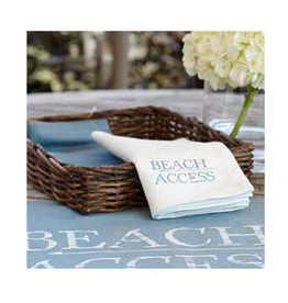 Harman Cotton Napkins Set of 4 16x16 w Printed Text Beach Access