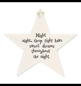 East of India Porcelain Star Ornament 4044 Night Night Sleep Tight Sweet Dreams