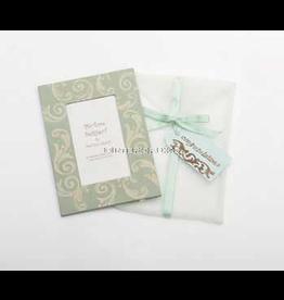 Photo Frame Greeting Card Congratutions Aqua Ivory Swirl
