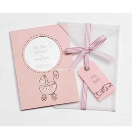 Photo Frame Greeting Card Oh Baby - Pink Baby Carriage