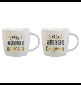 Slant Ceramic Mugs Set of 2 Good Morning Handsome Gorgeous