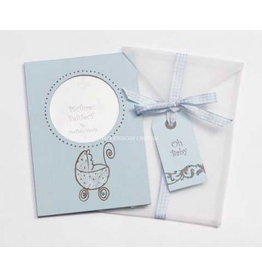 Photo Frame Greeting Card Oh Baby - Blue Baby Carriage