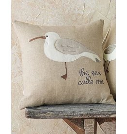 Mud Pie Shore Birds Square Pillow 16x16 Inch With The Sea Calls Me