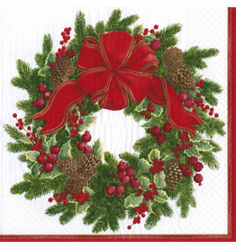 Caspari Paper Luncheon Napkins 20ct Evergreen Wreath White