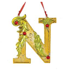 Kurt Adler Gold Initial Ornament With Holly Accents 3.5 Inch Letter N