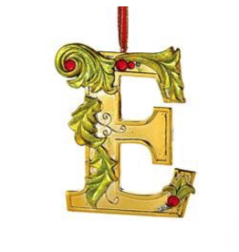 Kurt Adler Gold Initial Ornament With Holly Accents 3.5 Inch Letter E